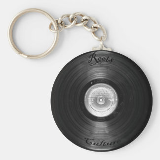 vynil retro basic round button key ring