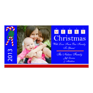 W1 Candy Cane Red Blue Xmas greeting photo Cards