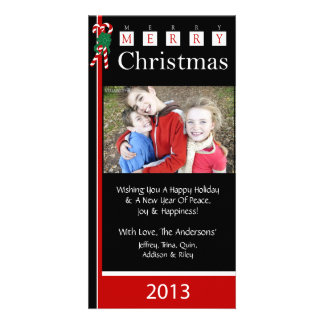 W2 Candy Cane-Black Red Christmas Holiday Cards Customized Photo Card