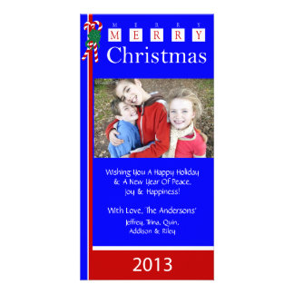 W2 Candy Cane Blue Red Holiday Xmas Photo Cards