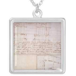 W.23r Architectural sketch with notes Silver Plated Necklace