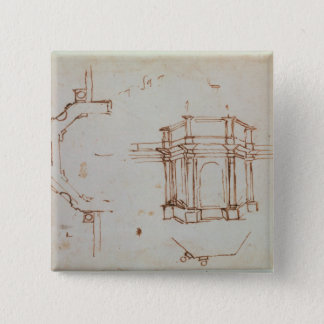 W.24r Architectural sketch 15 Cm Square Badge