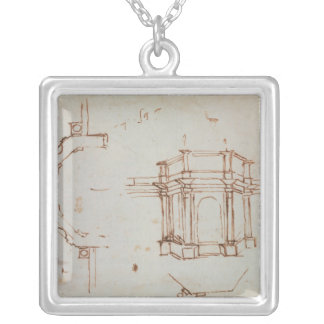 W.24r Architectural sketch Silver Plated Necklace