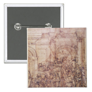 W.29 Sketch of a crowd for a classical scene 15 Cm Square Badge