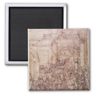 W.29 Sketch of a crowd for a classical scene Square Magnet