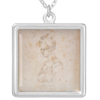 W.41 Sketch of a woman Silver Plated Necklace