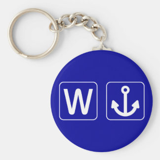 W Anchor Wanchor Funny Gift Basic Round Button Key Ring