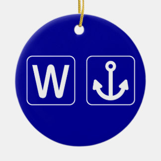 W Anchor Wanchor Funny Gift Round Ceramic Decoration
