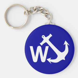 W Anchor Wanchor Joke Funny Gift Basic Round Button Key Ring