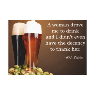 W.C. Fields Drinking Quote Gallery Wrap Canvas