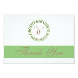 "W Dot Circle Monogam Thank You Cards (Brown/Mint) 3.5"" X 5"" Invitation Card"