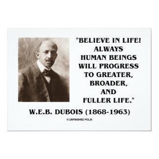 "W.E.B. Dubois (Du Bois) Believe In Life! Progress 5"" X 7"" Invitation Card"
