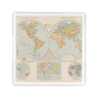 W, E Halbkugel World Map Acrylic Tray
