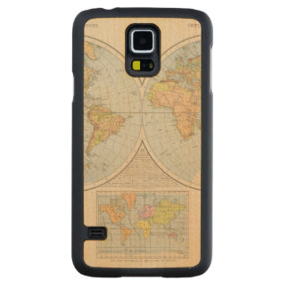 W, E Halbkugel World Map Carved Maple Galaxy S5 Case