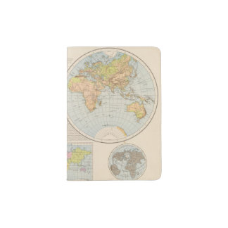 W, E Halbkugel World Map Passport Holder