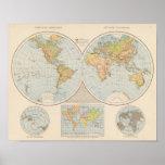 W, E Halbkugel World Map Poster