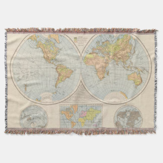 W, E Halbkugel World Map Throw Blanket