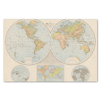 W, E Halbkugel World Map Tissue Paper