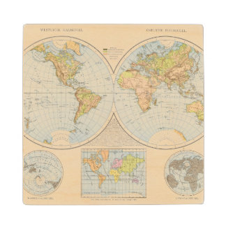 W, E Halbkugel World Map Wood Coaster