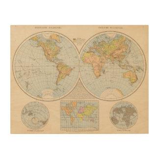 W, E Halbkugel World Map Wood Wall Art