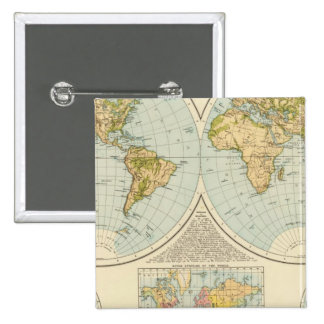 W, E Hemispheres 15 Cm Square Badge