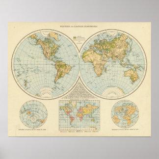 W, E Hemispheres Poster