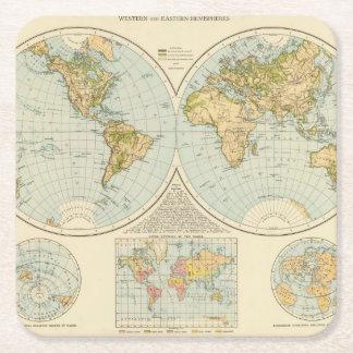 W, E Hemispheres Square Paper Coaster