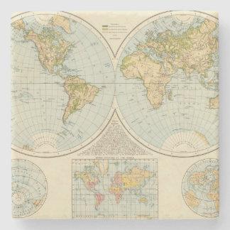 W, E Hemispheres Stone Coaster
