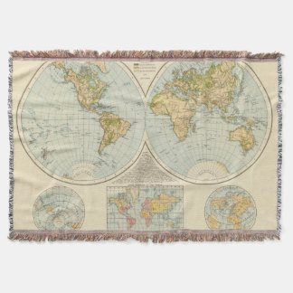 W, E Hemispheres Throw Blanket
