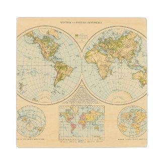 W, E Hemispheres Wood Coaster