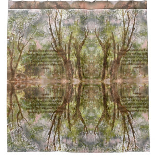W. Ethiopia Forest shower curtain with Rumi Quote