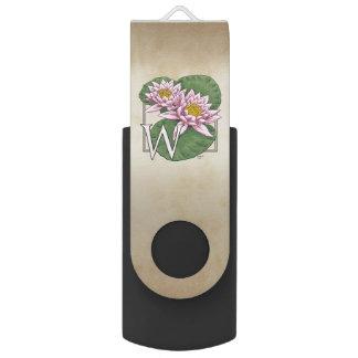 W for Water Lily Flower Monogram Swivel USB 2.0 Flash Drive