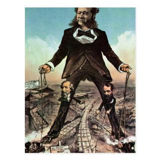 W.H. Vanderbilt as a 'Colossus of Roads' Postcard