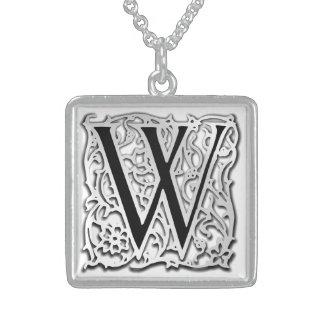 "W Initial Monogram ""Silver Besque"" Necklace Necklace"