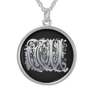 """W Initial Monogram """"Silver Lace on Black"""" Necklace Pendant"""