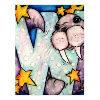 W is for Walrus Postcard