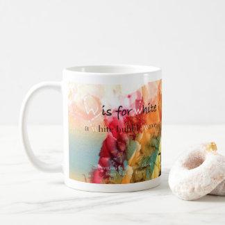 W is for White alphabet art mug