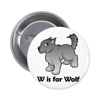 W is for Wolf 6 Cm Round Badge