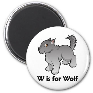 W is for Wolf 6 Cm Round Magnet