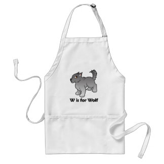 W is for Wolf Adult Apron