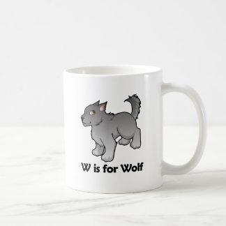 W is for Wolf Basic White Mug