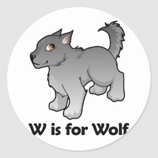 W is for Wolf Classic Round Sticker