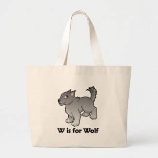W is for Wolf Jumbo Tote Bag