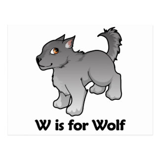 W is for Wolf Postcard