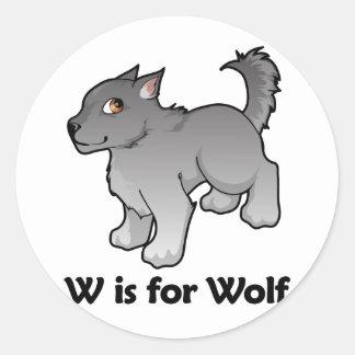 W is for Wolf Round Sticker