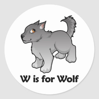 W is for Wolf Round Stickers
