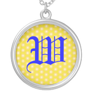 W LETTER ON HONEYCOMB JEWELRY