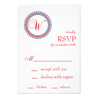 W Monogram Dot Circle RSVP Cards Red Blue