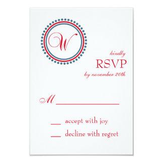 "W Monogram Dot Circle RSVP Cards (Red / Blue) 3.5"" X 5"" Invitation Card"