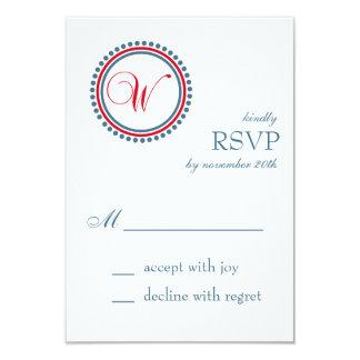 W Monogram Dot Circle RSVP Cards (Red / Blue) Invitation